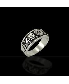 anillo engranajes plata de ley