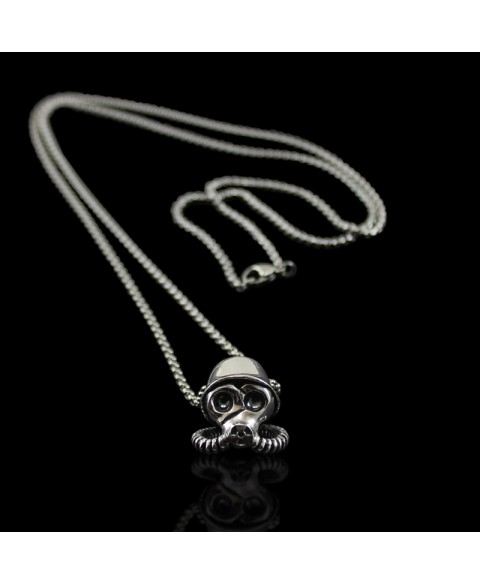 gas mask sterling silver necklace