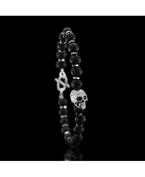 human skull bracelet sterling silver and lava stone