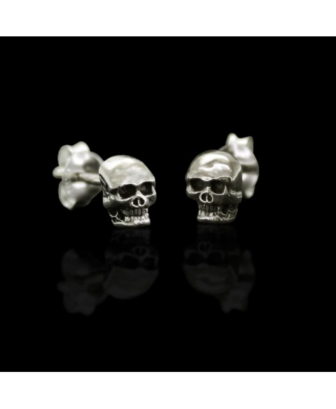Skull earrings stud sterling silver