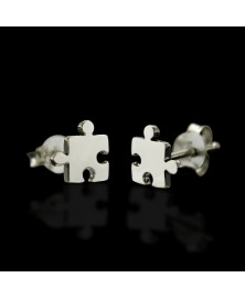 jigsaw puzzle piece earrings sterling silver