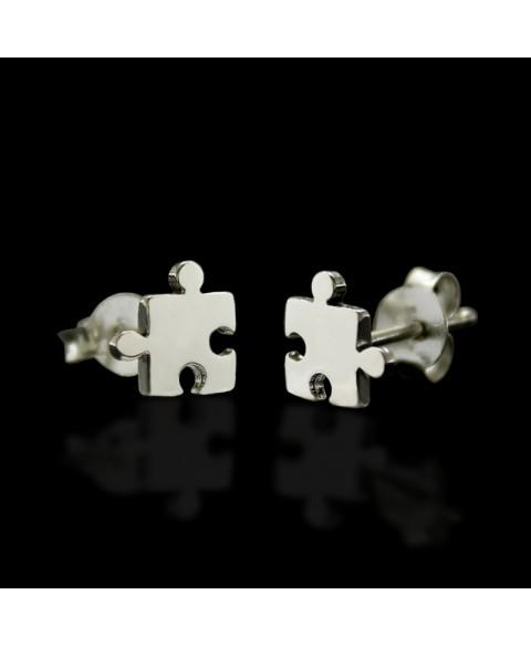 pendientes pieza puzzle plata de ley