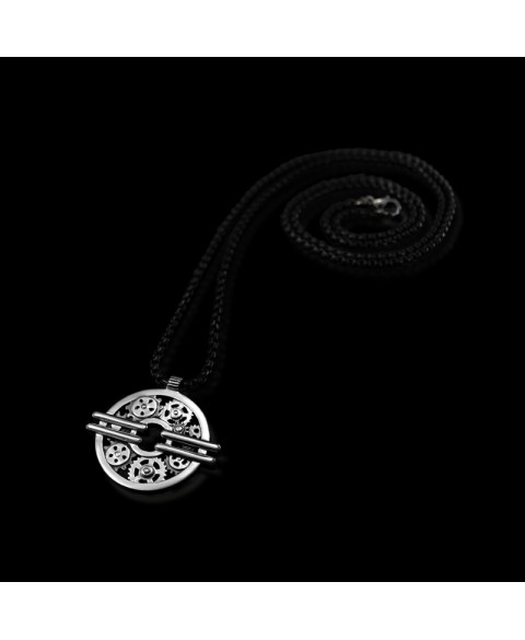 gear machinery necklace sterling silver