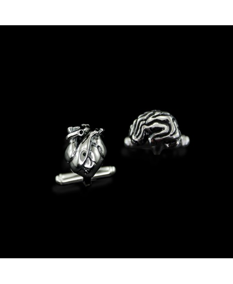 sterling silver cufflinks anatomical brain heart