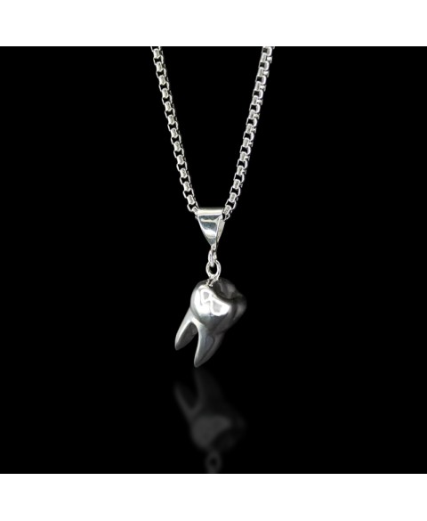 tooth pendant, sterling silver