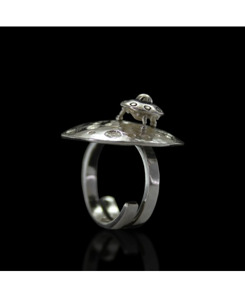 Moon ufo ring sterling silver