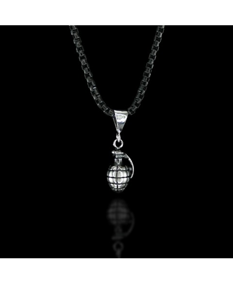 Grenade necklace sterling silver