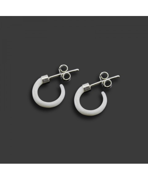 Horn earrings, bone and sterling silver