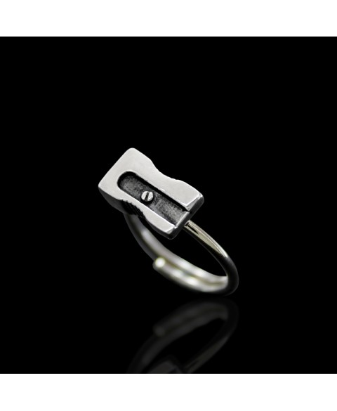 Pencil sharpener ring sterling silver