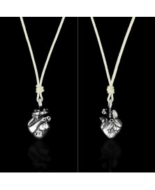 Anatomical human heart pendant sterling silver