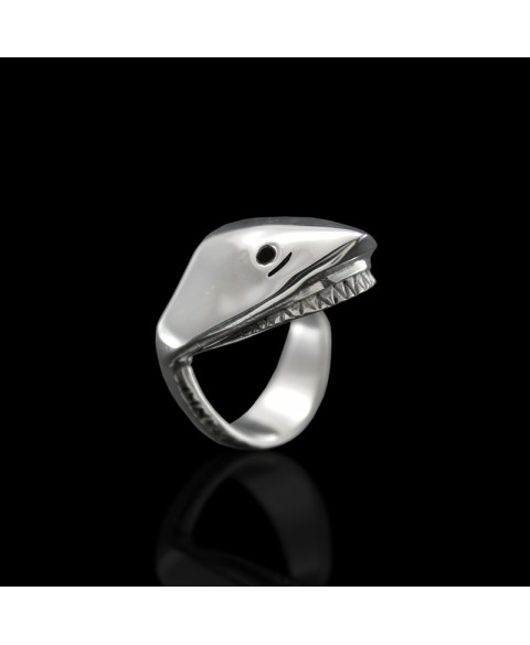 Shark jaws ring sterling silver