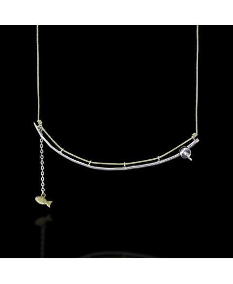 Sterling silver fishing rod necklace