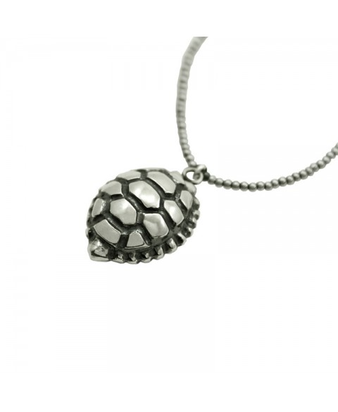 Turtle shell pendant sterling silver