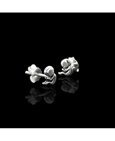 Fetus earrings stud sterling silver