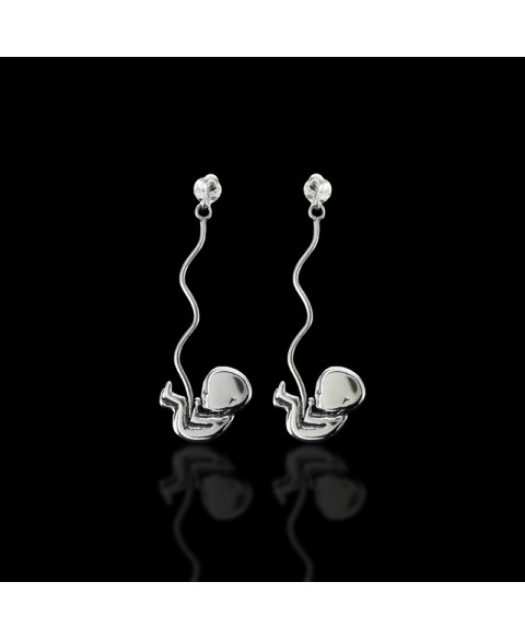 Biomechanical fetus earrings sterling silver