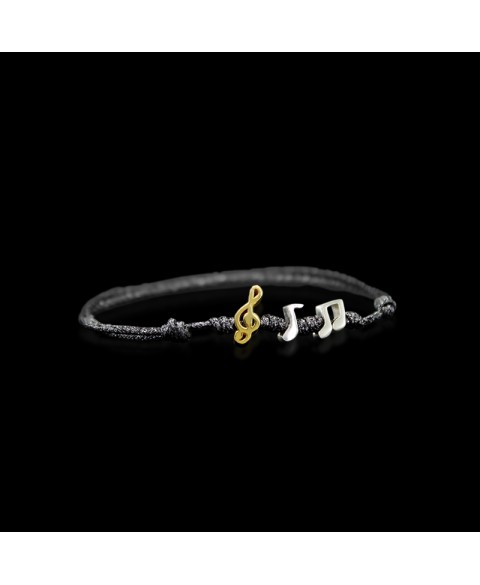 Sterling silver musical notes bracelet