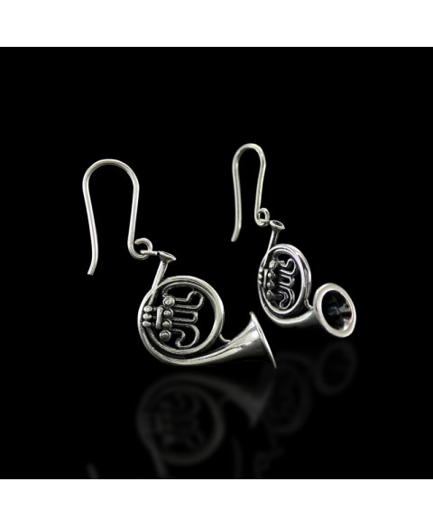 French horn earrings sterling silver