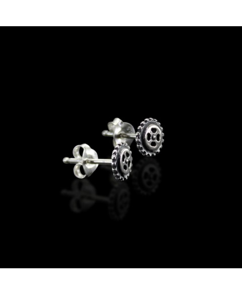 Gear stud earrings sterling silver