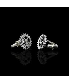 Gear cufflinks sterling silver