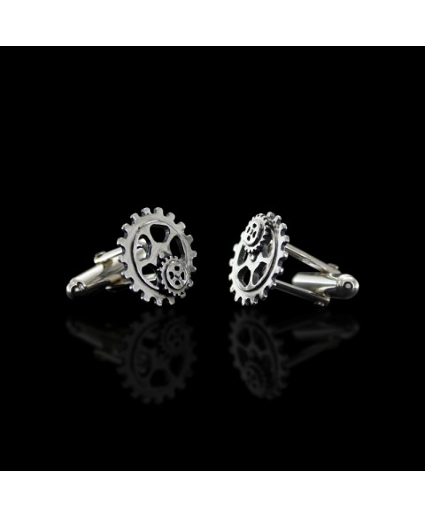 Gear cufflinks sterling silver