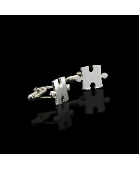 Jigsaw puzzle cufflinks sterling silver