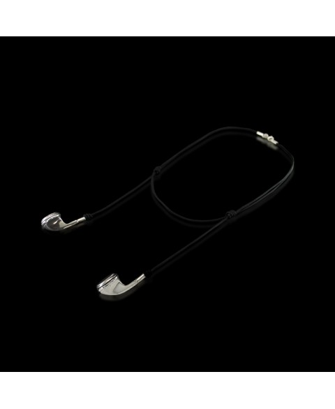 Earbuds necklace sterling silver