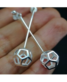 Dodecahedron earrings sterling silver