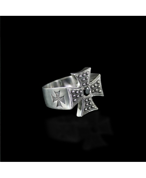 Iron cross ring sterling silver