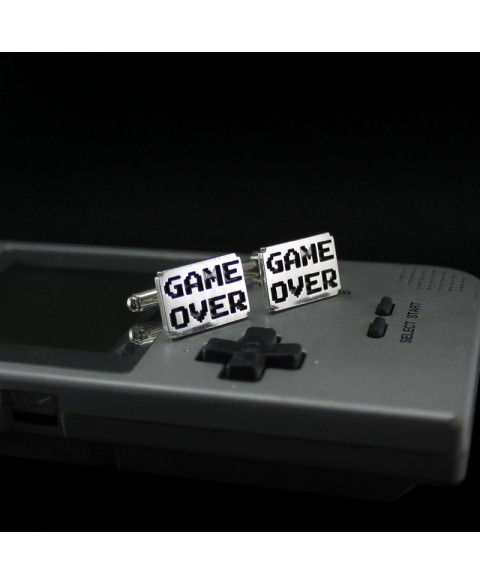 Game over cufflinks sterling silver