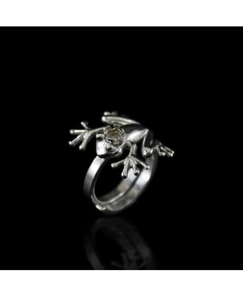 Charming frog ring sterling silver