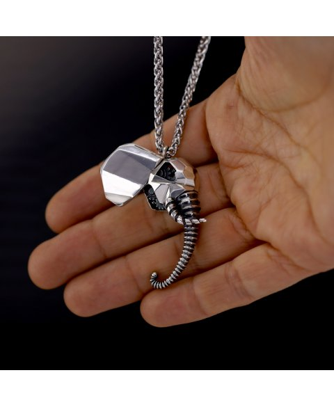 Collar elefante mecanico plata de ley