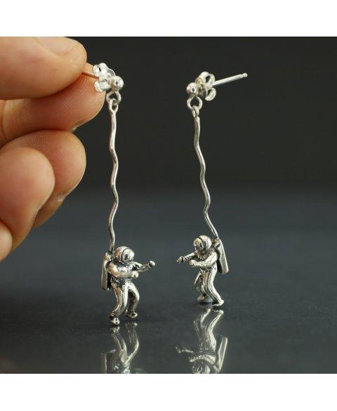 pendientes astronauta plata de ley