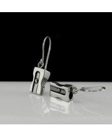 Pencil sharpener earrings sterling silver