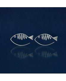Pendientes pez plata de ley