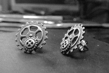 Earrings gear steampunk pendientes engranajes meiro meirojoyas